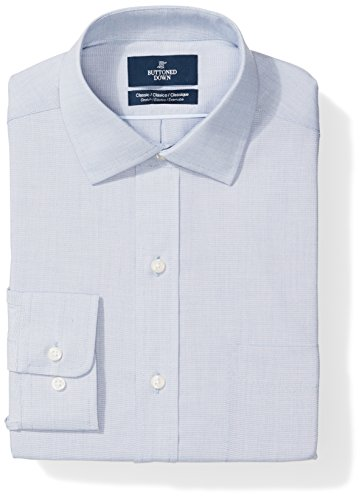 Buttoned Down Men's Classic Fit Stretch Poplin Non-Iron Dress Shirt, Chambray Blue, 16.5