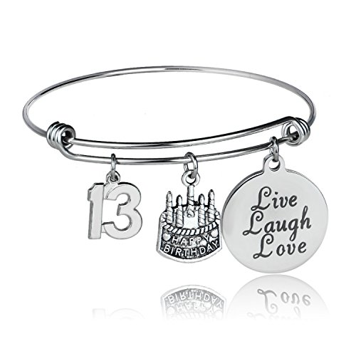 Happy Birthday Bangles, Cake Cheer Live Laugh Love Charms Bangle Bracelets, Gifts For Her (13th Birthday) (Happy Birthday Charm)