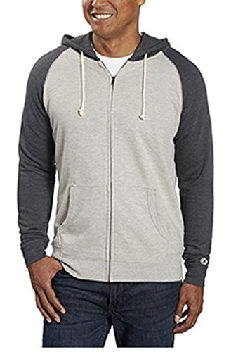 Champion Men's Color Block Full Zip Hoodie (X-Large, Oxford Heather/Charcoal Heather)