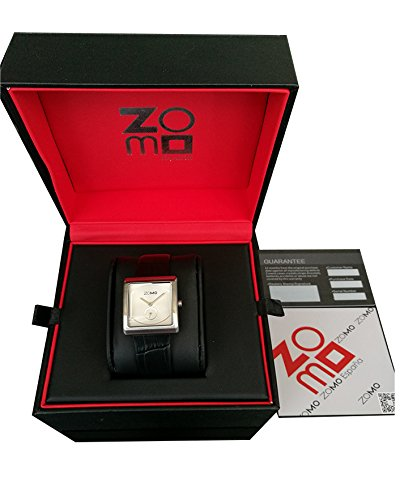 ZOMO Aroma Designer Watches for Women-Analog Swiss Quartz Classic Watches - Stainless Steel Rectangle Small Second Dress Watch with Silver dial and Black leather Strap by ZOMO (Image #6)