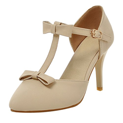 COOLCEPT Damen Mode T-Spange Pumps Beige