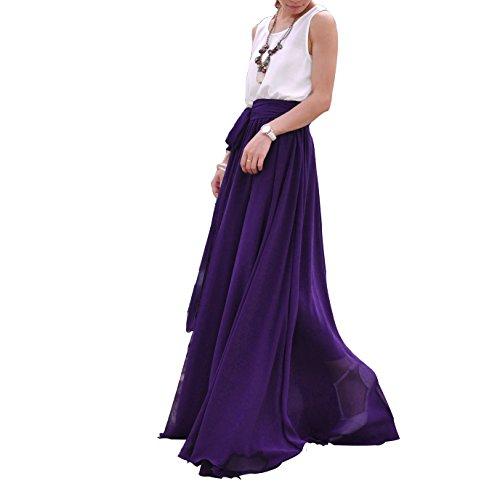 MELANSAY Belle Bow Tie Summer Beach En Mousseline De Soie Taille Haute Maxi Jupe Violet-11
