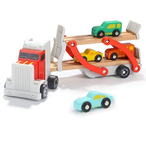 TOP BRIGHT Wooden Trucks Car Toys for 3 4 Year Olds Boys - Montessori Toys for Toddlers Learning Fine Motor Skills - Car Carrier with 4 Cars Mini Racers