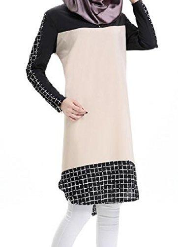 Plaid Coolred Sleeve Beige Dress Crewneck Splicing Muslim Long Women Abaya xwHqrx