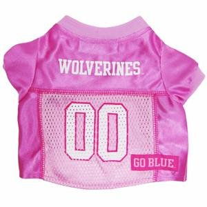 Mirage Pet Products Michigan Wolverines Jersey for Dogs and Cats, Medium, Pink
