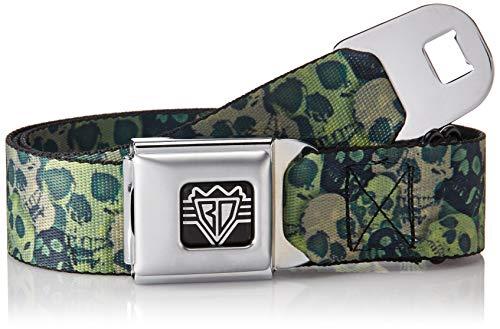 Buckle-Down Unisex-Adult's Seatbelt Belt Skulls Regular, camo Olive/Black Yard, 1.5