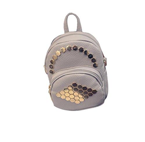 Tongshi Las mujeres de cuero remaches hexagonales Color sólido Simple BagsTravel bolsas mochila D
