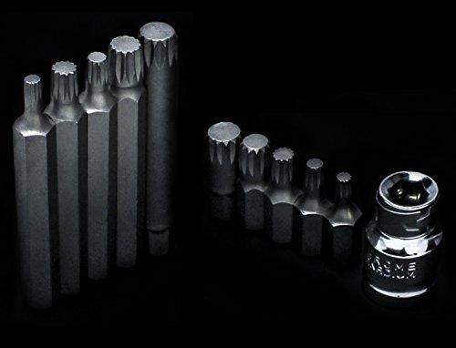 Bastex 11 piece Triple Square Socket Spline Bit 12 Point Set, CrV Steel by Bastex (Image #6)