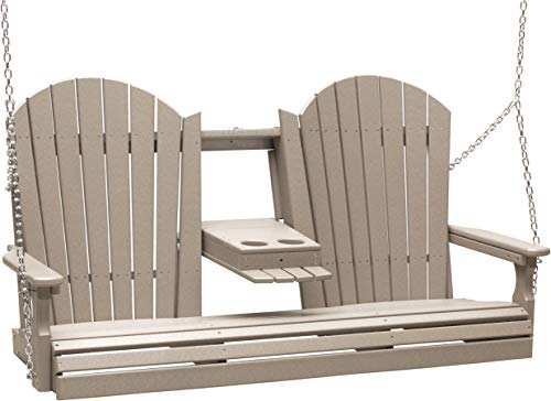 Furniture Barn USA Outdoor 5 Foot Adirondack Swing - Weatherwood Poly Lumber - Recycled Plastic