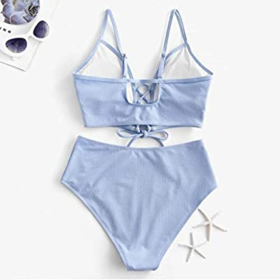 Swimsuits for Women Tummy Control Tankini Set,Women's Leaf Print Lace Up Ruched High Waisted Bathing Suits Swimsuit: Clothing