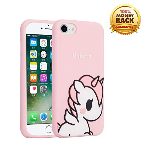 (WZHEN Case for iPhone 8/iPhone 7/iPhone 6 Case, 3D Cute Cartoon Soft Silicone Pink Unicorn Silicone Case Back Cover Case Rubber Full Body Protection Shockproof Cover Case Drop Protection Case)