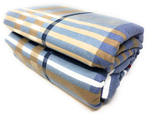 Maymarg Bedding%100 Cotton Heavyweight Flannel Plaid Flat Sheet (Sky Blue Plaid, - Sheet Flat Plaid