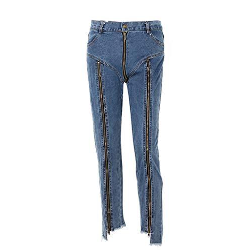 Verano Puntos Cintura Rxf L Y Multi Alta Tamaño Azul Azul De Rectos Pantalones Nueve Primavera Mujeres color Caderas zip Jeans Y6CqY