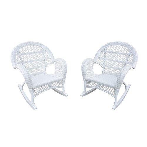 Jeco Wicker Rocker Chair in White (Set of 4)