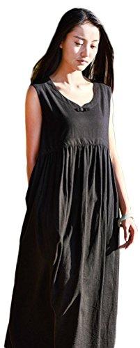 long black linen dress - 7