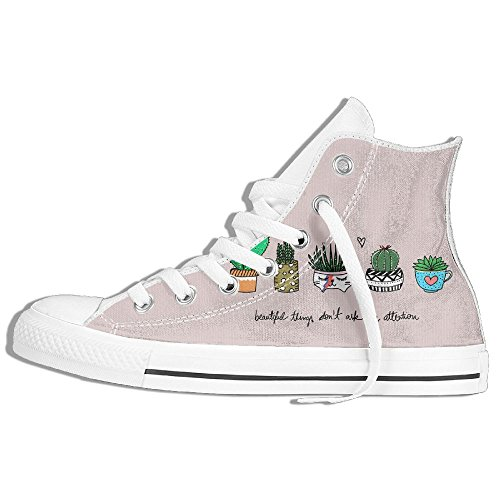 Classiche Sneakers Alte Scarpe Di Tela Antiscivolo Simpatico Cactus Casual Da Passeggio Per Uomo Donna Bianco