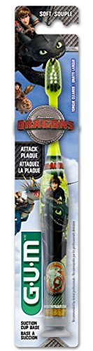 Sunstar 4060R How to Train Your Dragon - Manual Toothbrush, Dome Trim Bristle Dragon Toothbrush