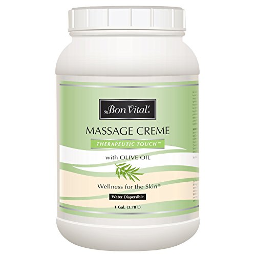 Bon Vital' Therapeutic Touch Massage Crème, Professional Massage Therapy Cream with Olive Oil to Repair Dry Skin & Soothe Sore Muscles, Full Body Moisturizer for Youthful Looking Skin, 1 Gallon ()