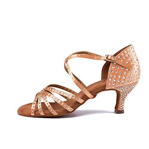 SWDZM Mujer estándar Zapatos de baile latinos Satén Strass Ballroom modelo IA-CT4040 Beige1