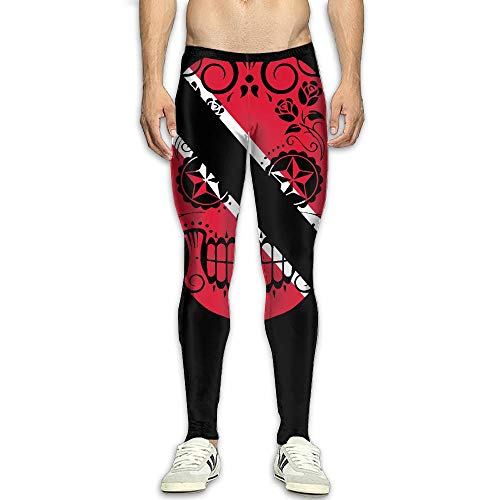 (OIIH08-0 Trinidad Flag Sugar Skull Men's Compression Tights Baselayer Dry Cool Fitness Long Pants Men)
