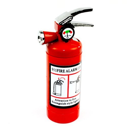 Novelty Fire Extinguisher Lighter with LED Light and Butane Refillable -