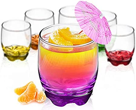Vasos de cristal de 250 ml, juego de 6 unidades, base colorida, vasos de agua, zumo, whisky, vasos pequeños