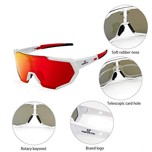 TOPTETN Polarized Sports Sunglasses With Interchangeable Lenes For Men Women Cyc