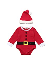 Perman 2PCS Newborn Baby Boys Girls Christmas Santa Rompers+Hat Set