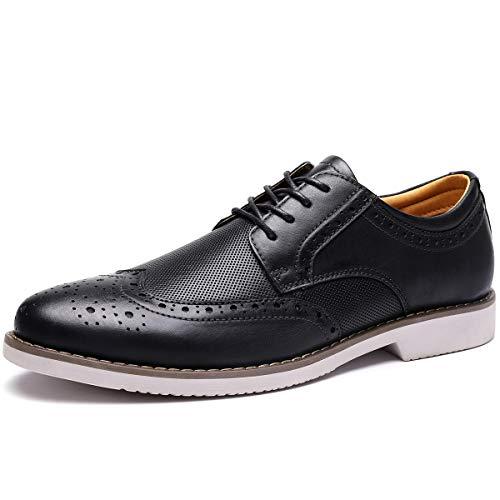 (Men's Dress Shoes Wingtip Leather Oxford Lace Up Brogue Black 13 M US)
