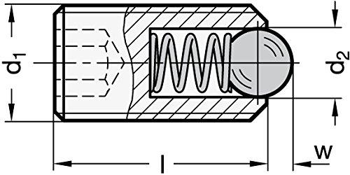 Ganter Normelemente GN 615.3-M6-K 3-M6-K-Federnde Druckst/ücke mit Innensechskant M6 5 St/ück Schwarz Gewinde d1
