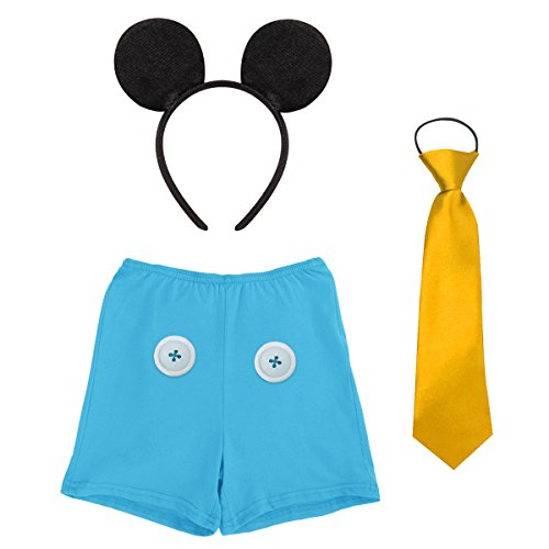 Baby Boys Cake Smash Outfit First Birthday Bloomers Boxer Diaper Cover+Formal Tuxedo Bow Tie+ Black Mouse Ears Headband Fancy Dress up Mickey Costume Carnival Party Cosplay for Photo Shoot Blue -