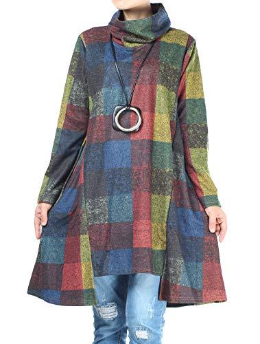 Mallimoda Women's Turtle Neck Jumper Dress Checkered Long Sleeve Cotton Tunic Tops