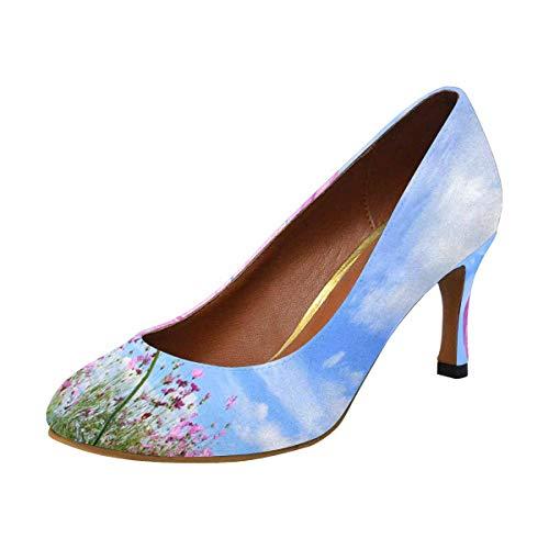 High Pump Houndstooth Heel (INTERESTPRINT Womens High Heels Comfort Pumps 6 B(M) US Cosmos Flowers Field)