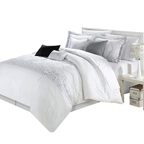 Collection 8 Piece Set - Chic Home Grace 8-Piece Comforter Set, King, White