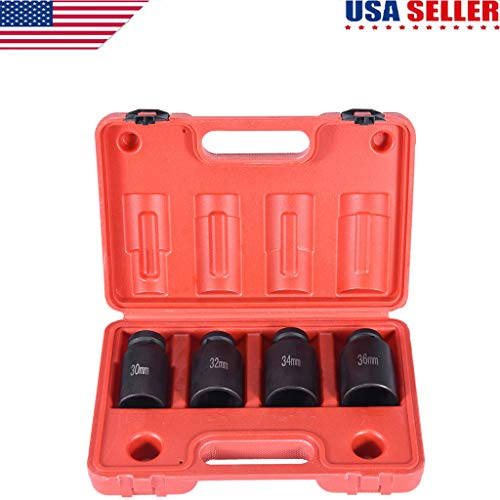 Eoeth 4Pc 1/2'' Dr Deep Spindle Axle Nut Socket Set 12Point Metric 30mm 32mm 34mm 36mm Exceptional Strength & Durability(Shipped by US) Free Post