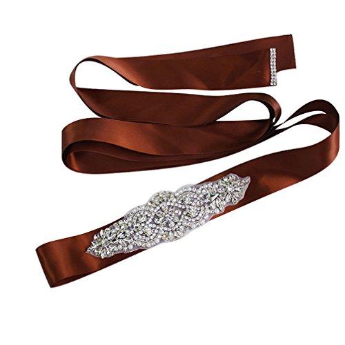 Women Crystal Sparkly Sash Belt - Bride Wedding Belts For Dresses (Brown Jeweled Dress)