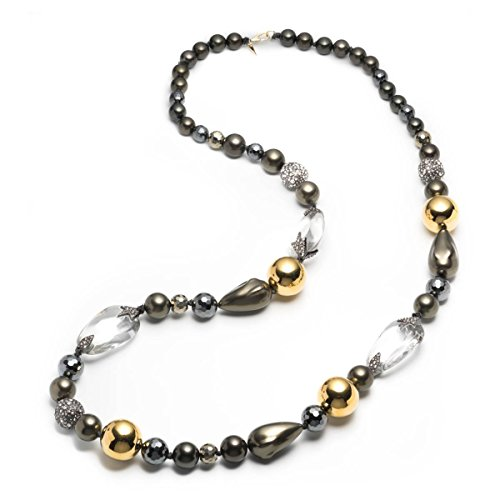 Alexis Bittar Baroque Pearl and Pave Ball with Crystal Capped Lucite Station - Necklace Lucite Bittar Alexis