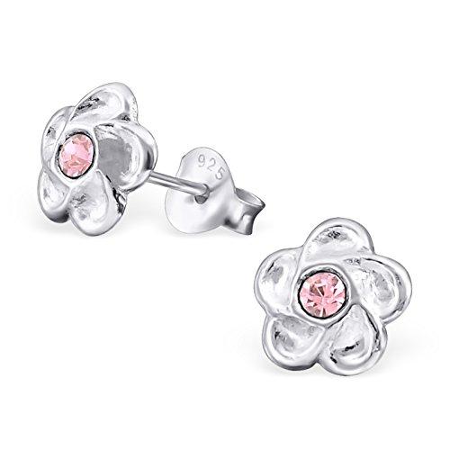 Hypoallergenic Flower Stud Earrings for Girls (Nickel Free and Safe for Sensitive Ears) - Light Rose