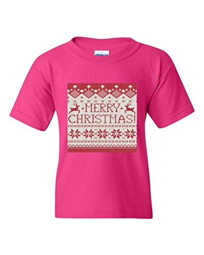Blue Tees Fashion People Ugly Sweater Merry Christmas Deer Motifs Unisex Youth Kids T-Shirt Tee Youth Medium Heliconia Pink -