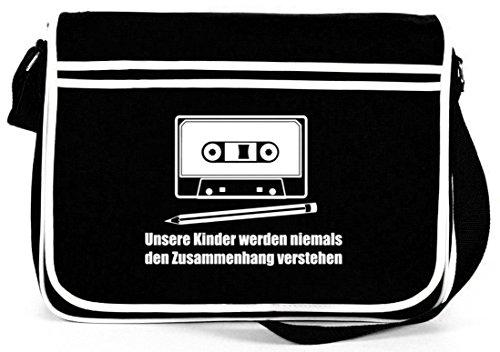 Shirtstreet24, Bleistift - Kassette, Retro Messenger Bag Kuriertasche Umhängetasche Schwarz