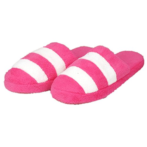 Home Slippers Euone Women Soft Warm Indoor Candy Color Stripe Cotton Slippers Home Anti-slip Shoes Hot Pink