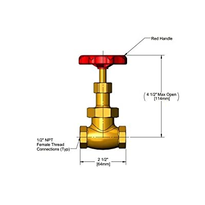 "T&S Brass 006647-20R Globe Valve, Red Handle, 1/2"" by T&S Brass"
