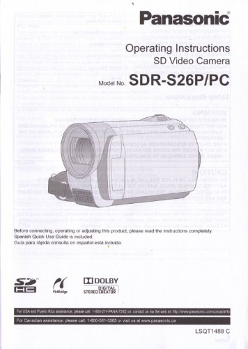Panasonic SDR-S26P/PC Operating Instructions