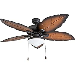 "Prominence Home 50772-01 Delray Tropical Ceiling Fan (3 Speed Remote), 52"", Mocha, Tropical Bronze"