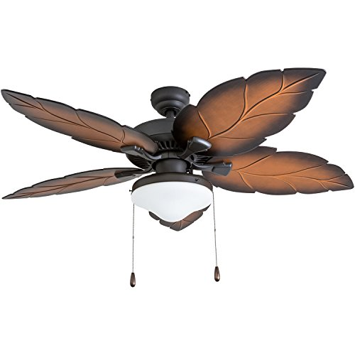 Prominence Home 50772-01 Delray Tropical Ceiling Fan (3 Speed Remote), 52