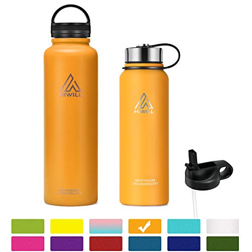 Hiwill Stainless Steel Insulated Water Bottle 2 Lids