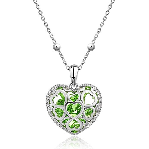 NEVI Heart Stylish Designer Party Wear Swarovski Elements Czech Crystals Rhodium Plated Opera Pendan