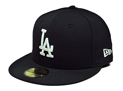White 59fifty Fitted Cap - New Era MLB Los Angeles Dodgers Black with White 59FIFTY Fitted Cap, 7 3/4