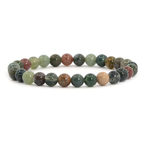 Gemstone Handmade Indian Jewelry - Natural Multi-color Indian Agate Gemstone 6mm Round Beads Stretch Bracelet 6.5