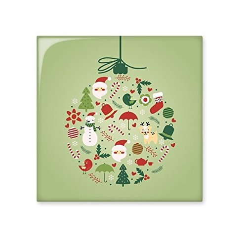 Christmas Santa Claus Snowman Tree Green Round Illustration Pattern Ceramic Bisque Tiles for Decorating Bathroom Decor Kitchen Ceramic Tiles Wall Tiles low-cost